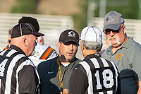 KELOWNA, BC - AUGUST 3: Head coach Jamie Boreham of Okanagan Sun speaks to officials at the sideline against the Kamloops Broncos at the Apple Bowl on August 3, 2019 in Kelowna, Canada. (Photo by Marissa Baecker/Shoot the Breeze)