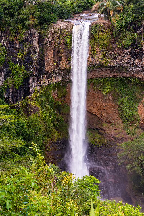 Looking down and across at the spectacular 272 foot waterfall in Chameral, Mauritius.