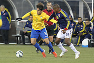 Brazil Midfielder Kaka (8) (Real Madrid – Spain) and Colombia Midfielder Edwin Valencia (15) (Fluminense – Brazil) during the Brazil vs Colombia friendly soccer match at MetLife Stadium in East Rutherford, NJ.