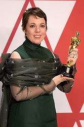 """Olivia Colman, winner of the Best Actress In A Leading Role Award for """"The Favourite"""" at the 91st Annual Academy Awards (Oscars) presented by the Academy of Motion Picture Arts and Sciences.<br /> (Hollywood, CA, USA)"""