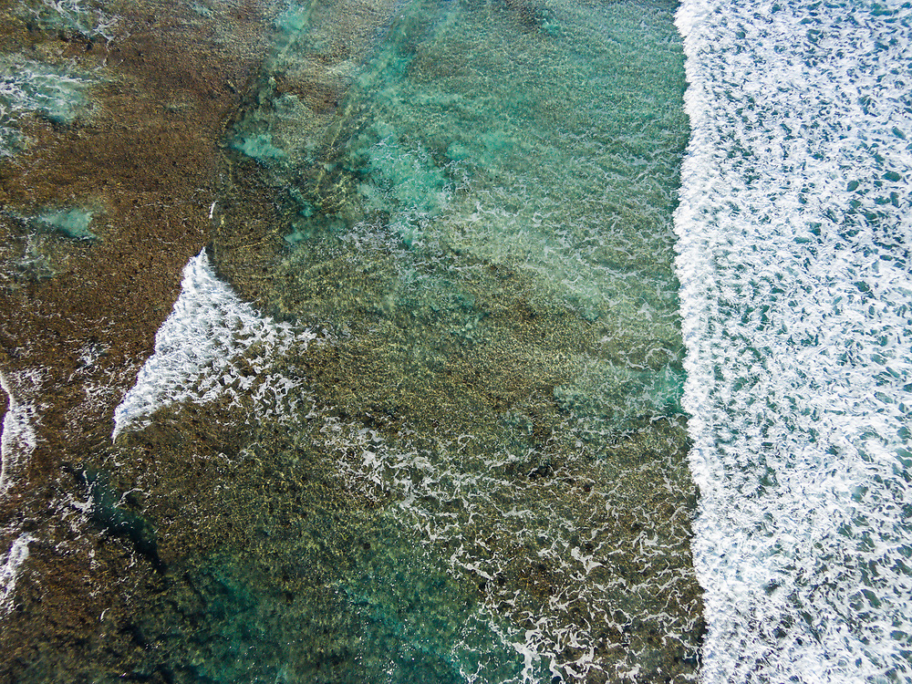 Looking down at the coral reef and surf off of Kahili (Rock Quarry) Beach, Kauai, Hawaii