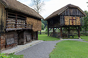 A traditional Slovenian Barn and Pig Sty at the Rogatec Open Air Museum, very close to the Croatian border, on 24th June 2018, in Rogatec, Slovenia. The museum of relocated and restored 19th and early 20th century farming buildings and houses represents folk architecture in the area south of the Donacka Gora and Boc mountains.