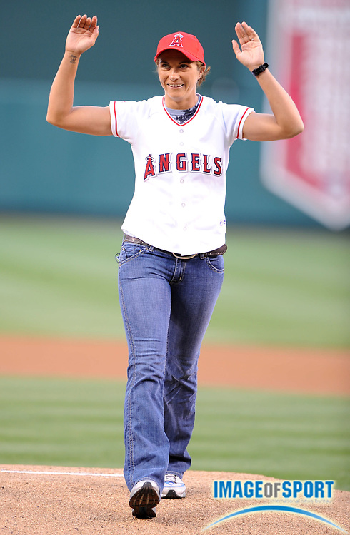 Apr 30, 2007; Anaheim, CA, USA; Misty May-Treanor waves to the crowd after throwing out the first pitch before game between the Oakland Athletics and Los Angeles Angels at Angel Stadium. Mandatory Credit: Kirby Lee/Image of Sport-US PRESSWIRE