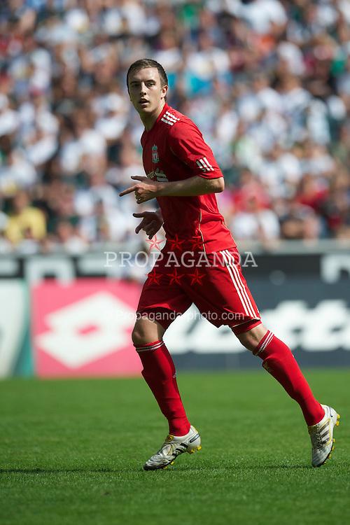 MONCHENGLADBACH, GERMANY - Sunday, August 1, 2010: Liverpool's Danny Wilson in action against Borussia Monchengladbach during a preseason friendly match at Borussia-Park. (Pic by David Rawcliffe/Propaganda)