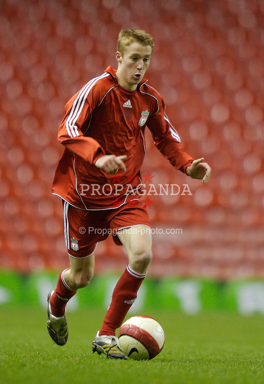 Liverpool, England - Monday, March 3, 2007: Liverpool's Stephen Darby during the FA Youth Cup Semi-Final 2nd Leg against Newcastle United at Anfield. (Pic by David Rawcliffe/Propaganda)