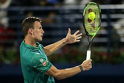 DUBAI, March 1, 2019  Marton Fucsovics of Hungary returns a shot during the singles quarterfinal match between Roger Federer of Switzerland and Marton Fucsovics of Hungary at the ATP Dubai Duty Free Tennis Championships 2019 in Dubai, the United Arab Emirates, Feb. 28, 2019. Roger Federer won 2-0 to proceed to the semifinals. (Credit Image: © Mahmoud Khaled/Xinhua via ZUMA Wire)