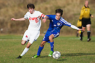 CVU's Cooper O'Connell (10) and Mt. Anthony's Thomas Hendrey (2) battle for the ball during the boys semifinal soccer game between Mount Anthony and Champlain Valley Union at CVU high school on Tuesday afternoon October 27, 2015 in Hinesburg. (BRIAN JENKINS/ for the FREE PRESS)