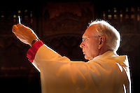 (May 27, 2011)  Bishop Robert Hermann elevates the Blessed Sacrament.  (Photo by Lisa Johnston)