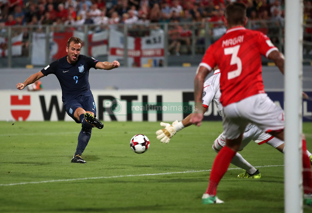 England's Harry Kane scores his side's first goal of the game during the 2018 FIFA World Cup Qualifying, Group F match at the National Stadium, Ta' Qali. PRESS ASSOCIATION Photo. Picture date: Friday September 1, 2017. See PA story SOCCER Malta. Photo credit should read: Nick Potts/PA Wire. RESTRICTIONS: Use subject to FA restrictions. Editorial use only. Commercial use only with prior written consent of the FA. No editing except cropping.