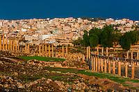 Oval Plaza and Colonnaded Street, Greco-Roman ruins, Jerash, Jordan.
