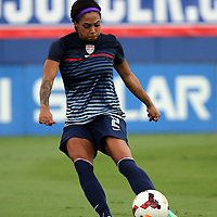 U.S. forward Sydney Leroux (2) warms us prior to an international friendly soccer match between the United States Women's National soccer team and the Russia National soccer team at FAU Stadium on Saturday, February 8, in Boca Raton, Florida. The U.S. won the match by a score of 7-0. (AP Photo/Alex Menendez)