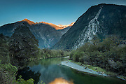 Sunrise above the Arthur River, along the Milford Track, Fiordland.
