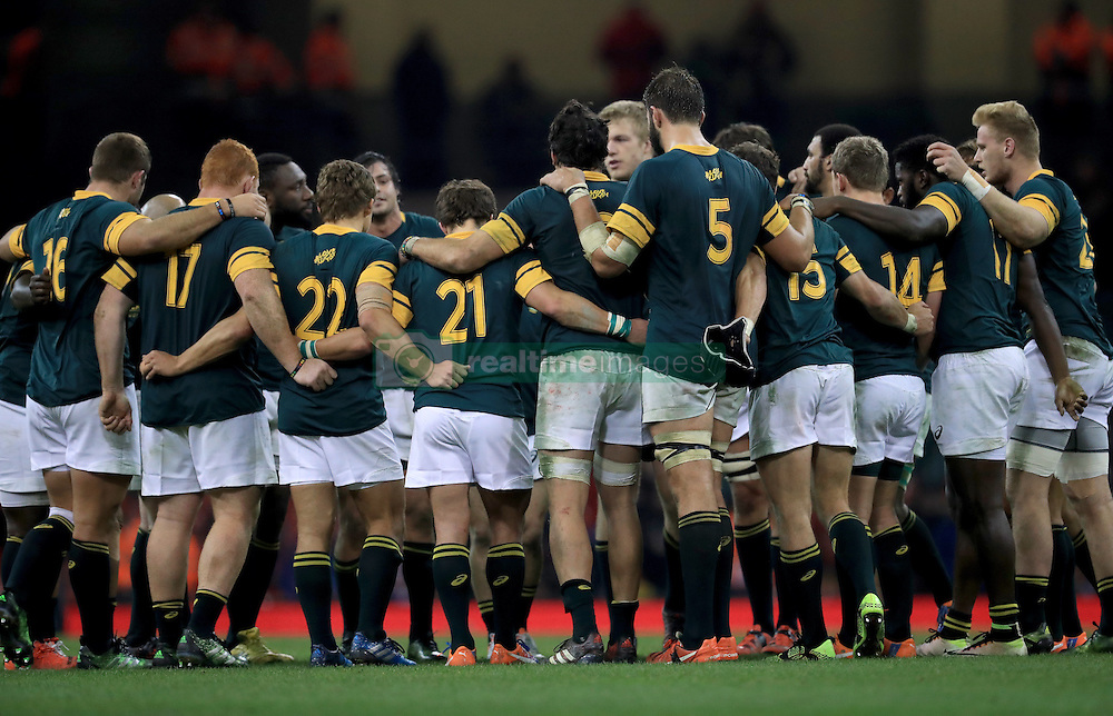 South Africa players  in a huddle after the game