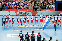 Players of Croatia listening to the National Anthem during handball match between National teams of Croatia and France on Day 7 in Main Round of Men's EHF EURO 2018, on January 24, 2018 in Arena Zagreb, Zagreb, Croatia.  Photo by Vid Ponikvar / Sportida