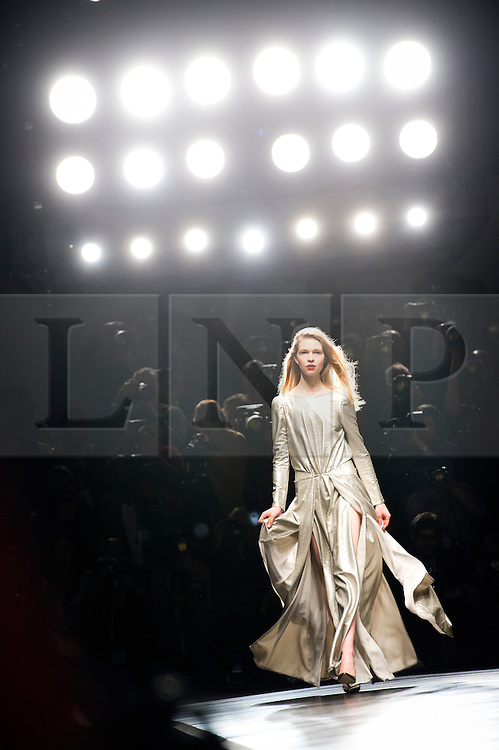 © London News Pictures. 15/02/2013. London, UK. A model walks the runway at the Felder Felder show by designers Annette Felder and Daniela Felder  at London Fashion Week Autumn Winter 2013/14 on February 15, 2013. Photo credit : Ben Cawthra/LNP