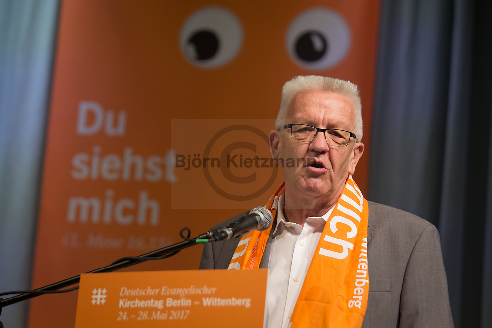 Berlin, Germany - 27.05.2017<br /> <br /> Winfried Kretschmann,  Minister President of the state of Baden-Wuerttemberg. German Protestant Church Assembly (&quot;Deutscher Evangelischer Kirchentag&rdquo;) in Berlin. <br /> <br /> Winfried Kretschmann, Ministerpraesident Baden-Wuerttemberg. Deutscher Evangelischer Kirchentag 2017 in Berlin. <br /> <br /> Photo: Bjoern Kietzmann