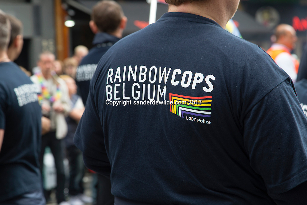 Belgium, Brussels, 19 May 2013. GAy part of Belgian police calls itself rainbow cops. About 80,000 participants at the Belgian Pride Parade to celebrate the LGBT (Lesbian, gay, bisexual, transgender) community and demand equal rights..Belgium celebrates its 10th anniversary of gay marriage and seven years of the opening of adoption in same-sex couple.