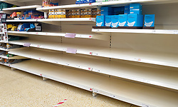 © Licensed to London News Pictures. 20/04/2020. London, UK. Empty shelves in Sainsbury's supermarket store in north London due to a flour shortage. According to the National Association of British and Irish Millers, sales of flour have increased since the coronavirus outbreak and lockdown and a shortage of small bags in which to put flour, is partly to blame for the lack of flour in stores. Photo credit: Dinendra Haria/LNP