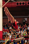 January 24, 2010; Stanford, CA, USA; Stanford Cardinal gymnast Carly Janiga performs on the beam during the meet against the UCLA Bruins at Burnham Pavilion. The Cardinal defeated the Bruins 196.43-195.83. Mandatory Credit: Kyle Terada-Terada Photo