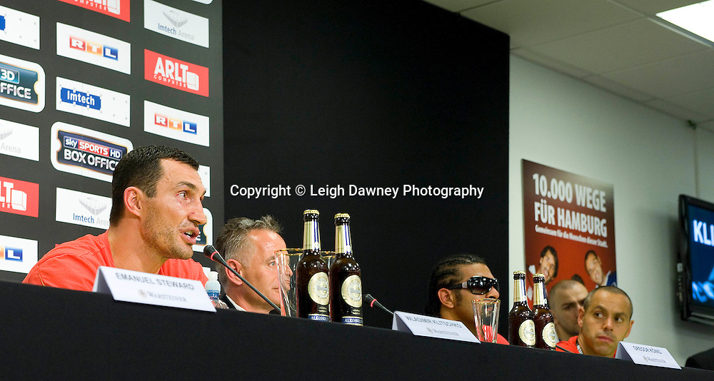 Press conference following the World Heavyweight Title fight between David Haye and Wladimir Klitschko at Imtech Arena, Hamburg, Germany. 03.07.11. Photo credit: Leigh Dawney 2011