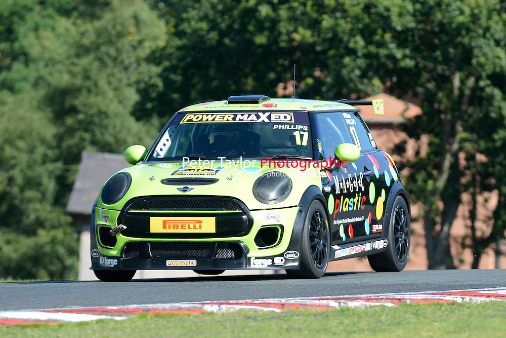 #17 William Phillips Mini F56 during Power Maxed Mini Challenge - F56/JCW - Qualifying  as part of the Mini Festival  at Oulton Park, Little Budworth, Cheshire, United Kingdom. August 08 2015. World Copyright Peter Taylor. Copy of publication required for printed pictures.  Every used picture is fee-liable. http://archive.petertaylor-photographic.co.uk