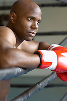 Boxer resting on boxing ring head and shoulders