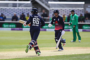 Jonny Bairstow and Joe Root of England during the One Day International match between England and Ireland at the Brightside County Ground, Bristol, United Kingdom on 5 May 2017. Photo by Andrew Lewis.