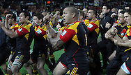 The Chiefs perform a haka after they beat the Sharks in the Super 15 Rugby final match, Waikato Stadium, New Zealand, Saturday, August 04, 2012. Credit:SNPA / John Cowpland