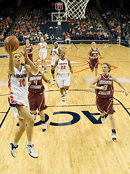 UVA's Brenna McGuire (10) beats the BC defense for an open shot at the basket.  The Cavaliers defeated the Eagles 65-63 in overtime at the John Paul Jones Arena in Charlottesville, VA on January 14, 2007.