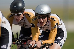 The United States Military Academy (Army) team of Alexander Krienke, Steven Pingree, Nicholas Shamrell, Ben Showman, and Erik Wilburn competes in the men's division 2 race.  The 2008 USA Cycling Collegiate National Championships Team Time Trial event was held near Wellington, CO on May 9, 2008.  Teams of 3 or 4 riders raced over a 20km out and back course that ran along a service road to Interstate 25.