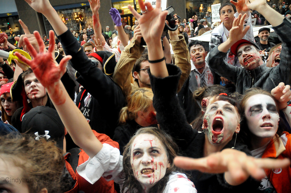 Zombies invade the downtown core in the 3rd Edition of Montreal Zombie Walk. October 2013. (Cult MTL)