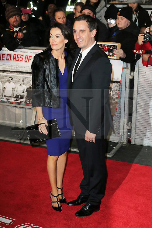 © Licensed to London News Pictures. Emma Hadfield and Gary Neville attend The Class of 92  World Film Premiere at The Odeon West End, Leicester Square, London on 01 December 2013. Photo credit: Richard Goldschmidt/LNP