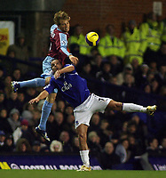 Photo: Paul Thomas.<br /> Everton v West Ham United. The Barclays Premiership. 03/12/2006.<br /> <br /> Andy Van Der Meyde of Everton. Jonathan Spector (L) of West Ham.