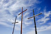 It is hard to miss the three crosses on the side of the road near Bisbee, Arizona. I couldn't get the angle I wanted as I was pressed against a barbed wire fence to get this one.