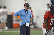 Ole Miss head coach Hugh Freeze at spring practice in Oxford, Miss. on Wednesday, March 5, 2014.  (AP Photo/Oxford Eagle, Bruce Newman)