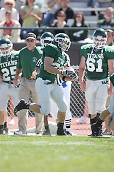 15 September 2007:  Brian Smith tip toes along the sideline. The Titans stood toe to toe with the 25th ranked Lions through the first half but ended the game on the losing end of a 25-15 score at Wilder Field on the campus of Illinois Wesleyan University in Bloomington Illinois.