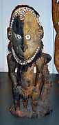 A Yatmul tribe ancestral figure carved in wood. This was used in rituals and placed in front of the men's house. 19th Century, Papua New Guinea