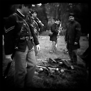 """Union campaigners, camping and marching with only what they could carry on their backs at Perryville Battle reenactment, 2002. dnads """"Charge to Battle"""""""