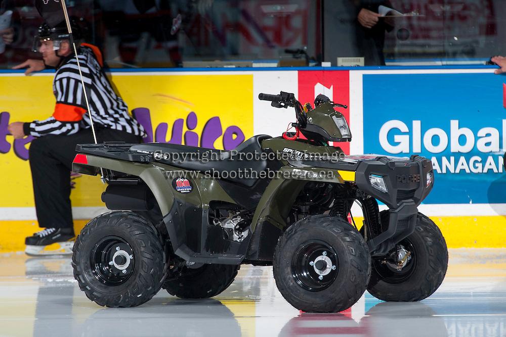 KELOWNA, CANADA - OCTOBER 31: The Polaris Sportsman 110 ATV stands on the ice on October 31, 2015 at Prospera Place in Kelowna, British Columbia, Canada.  (Photo by Marissa Baecker/Shoot the Breeze)  *** Local Caption *** Polaris Sportsman 110;