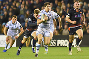 Lloyd Williams runs in a try during the Guinness Pro 14 2018_19 match between Edinburgh Rugby and Cardiff Blues at Murrayfield Stadium, Edinburgh, Scotland on 23 February 2019.