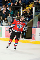 KELOWNA, CANADA, OCTOBER 20: Damon Severson #7 of the Kelowna Rockets salutes the crowd after the win as  the Vancouver Giants visited the Kelowna Rockets on October 20, 2011 at Prospera Place in Kelowna, British Columbia, Canada (Photo by Marissa Baecker/shootthebreeze.ca) *** Local Caption *** Damon Severson;