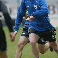 St Johnstone Training...21.02.03     Ex-Celt Chris Hay holds off Stuart Noble during training this morning.<br />see story by Gordon Bannerman.  Tel 01738 553978<br /><br />Picture by Graeme Hart.<br />Copyright Perthshire Picture Agency<br />Tel: 01738 623350  Mobile: 07990 594431