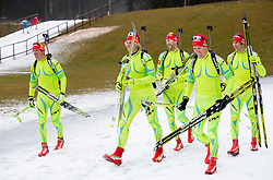 (L-R) Janez Maric, Klemen Bauer, Jakov Fak,  Peter Dokl and Simon Kocevar  during practice session of Slovenian biathlon team before new winter season 2012/13 on November 19, 2012 in Rudno polje, Pokljuka, Slovenia. (Photo By Vid Ponikvar / Sportida)