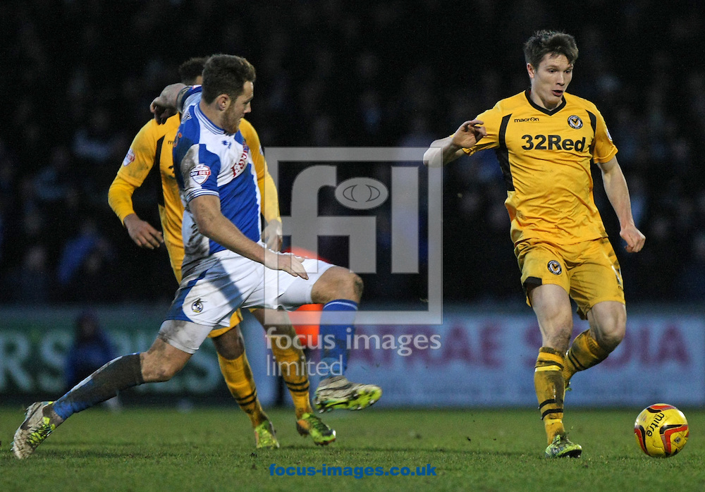 Picture by Mark Hawkins/Focus Images Ltd 07949 023795<br /> 25/01/2014<br /> Eliot Richards of Bristol Rovers challenges Ryan Burge of Newport County during the Sky Bet League 2 match at the Memorial Stadium, Bristol.