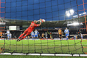 Brighton goalkeeper, Niki Maenpaa (1) saves kick at goal by Hull City midfielder Sone Aluko (24)  during the The FA Cup match between Hull City and Brighton and Hove Albion at the KC Stadium, Kingston upon Hull, England on 9 January 2016. Photo by Ian Lyall.