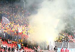15.10.2011, Mercedes-Benz Arena, Stuttgart, GER, 1.FBL, VfB Stuttgart vs TSG 1899 Hoffenheim, Fans, Fanblock 1899 Hoffenheim mit Luftballons in gelb-rot und Rauch, Qualm.// during the match from GER, 1.FBL, VfB Stuttgart vs TSG 1899 Hoffenheim on 2011/10/15,  Mercedes-Benz Arena, Stuttgart, Germany..EXPA Pictures © 2011, PhotoCredit: EXPA/ nph/  A.Huber       ****** out of GER / CRO  / BEL ******