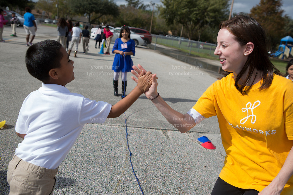 Playworks<br /> <br /> <br /> Chambers Elementary School<br /> 10700 Carvel Ln., <br /> Houston, TX 77072<br /> <br /> 3rd grade recess<br /> <br /> Pic of kids with RWJF release- 4112,4109,4082
