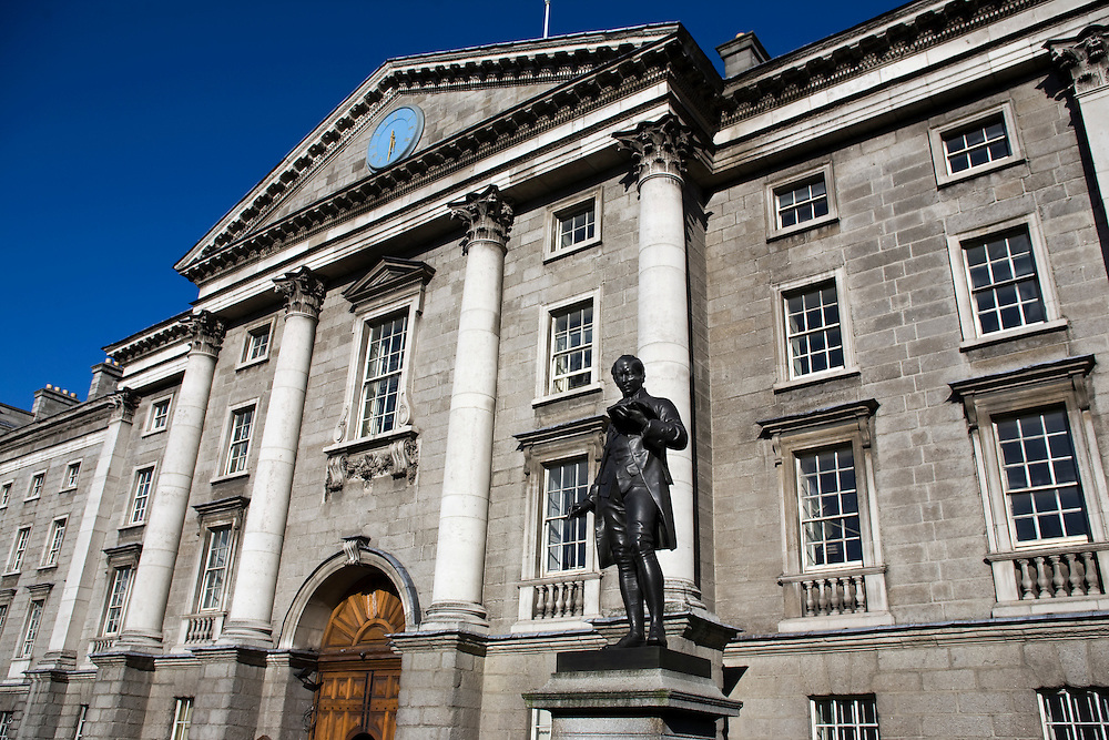 Statue of Oliver Goldsmith in snow, Trinity College, Dublin, Ireland. Statue by John Henry Foley, erected in 1864.