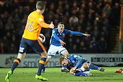 Callum Camps is fouled, Ollie Rathbone reacts during the EFL Sky Bet League 1 match between Rochdale and Oldham Athletic at Spotland, Rochdale, England on 17 April 2018. Picture by Daniel Youngs.