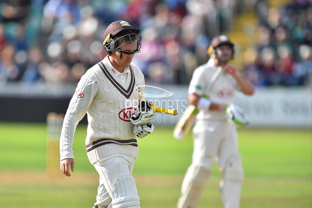Wicket - Jason Roy of Surrey looks dejected as he walks back to the pavilion after being dismissed by Jamie Overton of Somerset during the opening day of the Specsavers County Champ Div 1 match between Somerset County Cricket Club and Surrey County Cricket Club at the Cooper Associates County Ground, Taunton, United Kingdom on 18 September 2018.